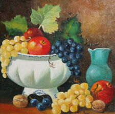 Vintage European oil painting still life with fruits