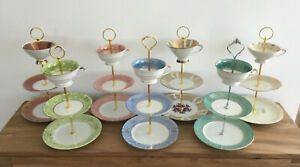 Porzellan Etagere 3 stufig Sammelgedeck Sammeltassen Handarbeit Vintage Hochzeit