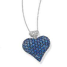 14K White Gold Pave Diamond & Pave Blue Sapphire Heart Pendant Charm NEW