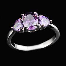 Amethyst Rings Heart Purple CZ Size 6-10 Women's 10Kt White Gold Filled Wedding