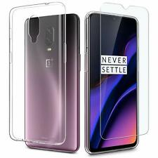 Transparent soft silicone case + film window tempered glass for oneplus 6t
