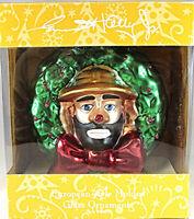 Emmett Kelly Jr the Clown Glass Ornament European Style Wreath New in Box 1997