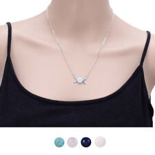 Crystal Women Natural Stone Silver Chain Opal Necklace Moon/Sun Pendant