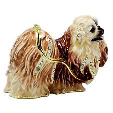Pekingese Dog Jewelled Trinket Box or Figurine Approx 5cm High