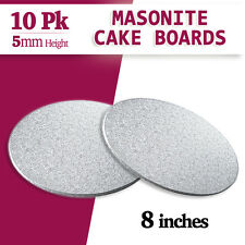"Cake Board Masonite Silver 10 PK 8 ""inches Round - 5mm Thickness"