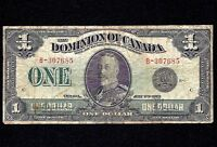 DOMINION OF CANADA $1 DOLLAR 1923 black   DC-25a  Grp 1