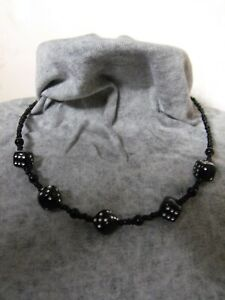 BLACK AND SILVER DICE choker NECKLACE & EARRINGS  GLASS  BEADED acrylic