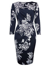 Debenhams Navy Black Floral Stretch Jersey Lined Dress Occasion Wedding Party