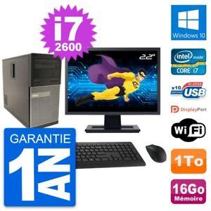 """PC Tour Dell 790 MT Ecran 22"""" Intel i7-2600 RAM 16Go Disque 1To Windows 10 Wifi"""