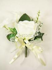4 Artificial Silk Flowers Cream Rose Stephanotis Lily of Valley Wedding Corsages