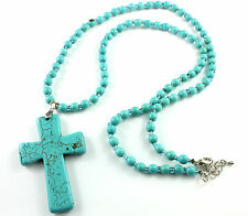Long Turquoise Gemstone Beads  Necklace with Cross Pendant