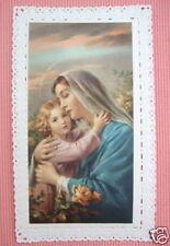Vintage Catholic Holy Card LACE Jesus hugging Mary w/roses MINT