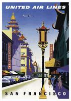 Vintage San Francisco Chinatown 1950s Travel Poster Atomic Cityscape Eames