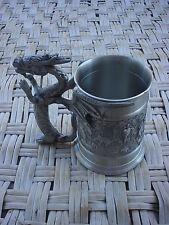 Pewter Dragon Handle Tankard Mug pagoda of elephants Extremely Unique