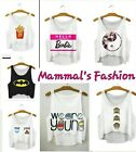Ladies Mysterious Crop top short sexy Tank tops Vintage Women One Size.