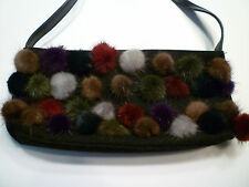 BRACCIALINI FIRENZE Black Wool Baguette Bag w/ Multicolor Mink Pom Poms Applique