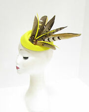 Yellow Brown Pheasant Feather Pillbox Hat Headpiece Races Fascinator Hair 2265