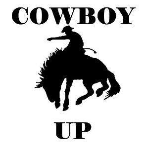 Cowboy up decal sticker wall ute BNS truck car