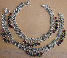Glass Beads Crystal Metal Chain Anklets Retro Vintage Boho Fashion Ankle Jewelry