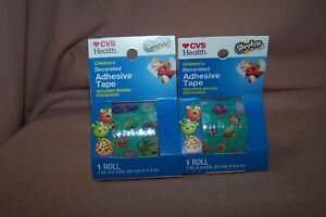 (2) CVS Children's Decorated Adhesive Tape Secures Wound Dressings Shopkins HTF