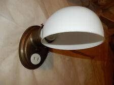 Simple Arts & Crafts Bathroom Sconce - Milk Glass Shade on Brass Fixture