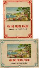 2 Original Vintage Francese Vino Etichette 1920s-VIN DE frutti