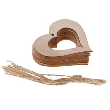 10pcs Natural Wood Hollow Heart Christmas Tree Ornament Tag for DIY Crafts