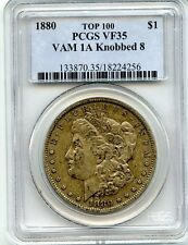 C8950- 1880 VAM-1A KNOBBED 8 TOP 100 MORGAN DOLLAR PCGS VF35