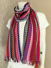 Missoni Multi Zigzag Stripe Knitted Fringed Scarf Made in Italy