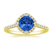 1.61 Ct Certified Cushion Blue Sapphire Ring 14K Yellow Gold Diamond Rings Size