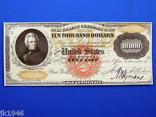 Reproduction $10,000 1875 Gold Cert. Uni-Face Note US Paper Money Currency Copy
