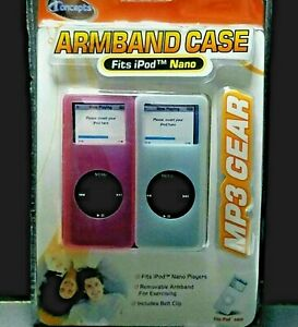 Nano IPod Armband 2 Cases MP3 Gear IConcepts Excercise Jogging Music Pink Clear
