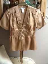 Paul & Joe golden beige short sleeve silk blouse UK10