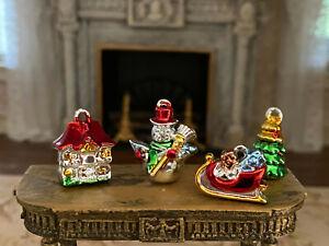 Vintage Miniature Dollhouse Collection Retro Christmas Tree Ornaments LAST SET