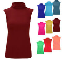 NEW WOMEN'S SLEEVELESS TURTLE NECK TOP ROLL NECK POLO NECK JUMPER ALL SIZES
