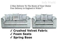 MARILYN SHIMMER GLITZ CRUSHED VELVET CORNER SOFA OR 3 AND 2 SEATER SILVER