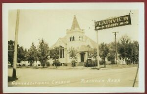 080421 VINTAGE RPPC CONGREGATIONAL CHURCH AND WELCOME SIGN PLAINVIEW NE POSTCARD