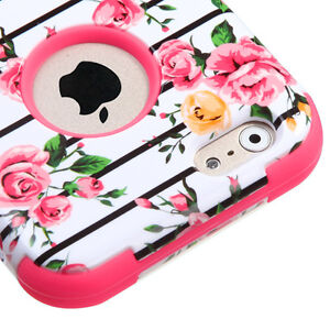 For iPhone 6 / 6S - HARD & SOFT RUBBER HYBRID ARMOR SKIN CASE PINK ROSE FLOWERS