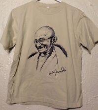 "Mahatma Gandhi Portrait T-Shirt - Sz: S - Off White / Tan - ""Free to Be.."""