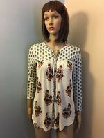 LUCKY BRAND XS Ivory Blue 3 Print Knit Button Front BOHO FLORAL TOP 3/4 Sleeves