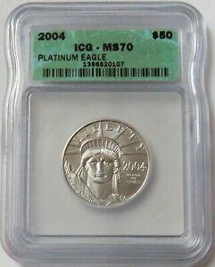 2004 PLATINUM $50 STATUE OF LIBERTY 1/2 OZ COIN ICG MINT STATE 70