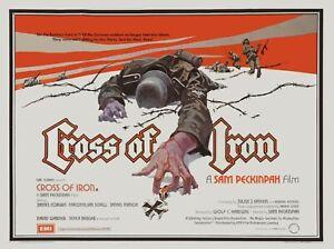 "CROSS OF IRON 1977 uk repro cinema quad poster 30x40"" SAM PECKINPAH FREE P&P"