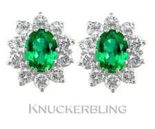 Butterfly Emerald Cluster Oval Fine Gemstone Earrings