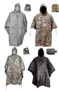 Army Waterproof Military Combat Hooded Basha Poncho Camo US British Green Black