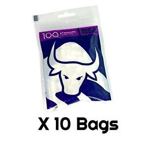 10 Bags x 100 Bull Brand Standard Filter Tips 8mm 1000 Tips Not Swan Cheap