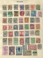 BELGIUM Stamps on an Old Stamp Album Page (2)