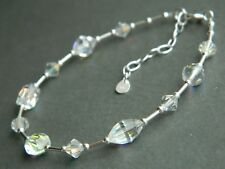 Vintage Aurora Borealis AB Faceted Glass Crystal Beads, Sterling Silver Bracelet