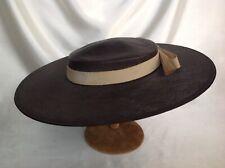 Vintage Dark Brown Straw Picture Hat