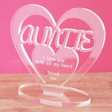 Personalised Heart Message Ornament Keepsake Birthday Auntie Mothers Day Gift