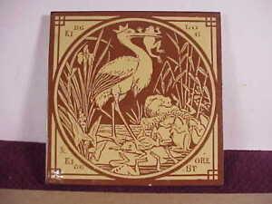 Minton's China Works Aesop's Fables King Log & King Stork Antique Tile